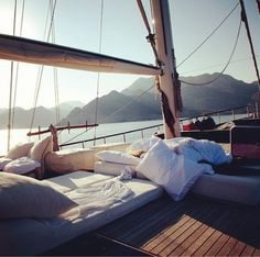 Sleep outside on boat