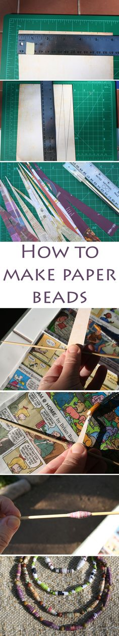 How to make paper beads - If you want to design your own, you can use markers, paints, glitter, etc. String your paper beads to make a necklace, bracelet, or earrings.