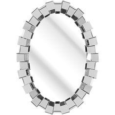 Amara Aelia Mirror (1,120 CAD) ❤ liked on Polyvore featuring home, home decor, mirrors, metallic, plain mirror, beveled glass mirror, oval mirror, oval beveled mirror and glass home decor