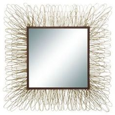 """Bring eye-catching style to your home decor with this charming design, artfully crafted for lasting appeal.Product: Wall mirrorConstruction Material: Wood, metal and mirrored glass Color: GoldFeatures:  Eye-catching contemporary designPerfect for a foyer or hallway Dimensions: 28"""" H x 28"""" W"""