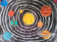 Het zonnestelsel met wasco en ecoline! Solar System Crafts, Solar System Projects For Kids, Space Crafts For Kids, Art For Kids, School Art Projects, Science Projects, Painting For Kids, Drawing For Kids, Space Classroom