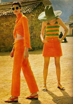 '60s summer fashions in orange and green.