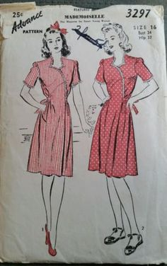 Vintage-1940s-Advance-Dress-with-Ruffling-Sewing-Pattern-3297-size-16-COMPLETE