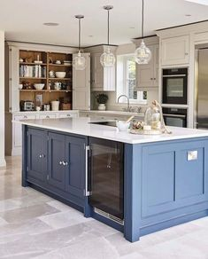This blue shaker kitchen has been designed with family in mind, full of state of. - This blue shaker kitchen has been designed with family in mind, full of state of the art appliances - Home Decor Kitchen, Kitchen Design Trends, Kitchen Trends, Kitchen Trends 2018, Kitchen Remodel, Kitchen Style, New Kitchen Cabinets, Kitchen Renovation, Kitchen Design