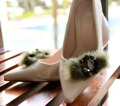Luciane  Olive green faux fur shoe clip with by preciousfindings, US$18.90