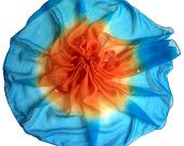 Upcycled Sari Scarf  - Extra Long - Ombre shaded Orange & Turquoise Blue with Flowers Embroidery