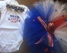 American Cutie USA anchor3 piece set tutu red white