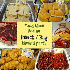 Looking for boy's party ideas? Check out these fun food ideas for an Insect or Bug themed party via Mommy Snippets.