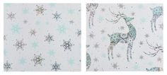 Create a stylish look for your gifts this Christmas with this lovely pale duck egg and silver holographic wrapping paper in stars and stags design. Accessorise with your favourite ribbon and bows for a truly spectacular look!<p> With cutting guide on reverse. Each roll is 3 m long by 70cm tall.