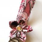 Keychain Fabric Key Fob Floral Wristlet Key Chain in Pink Brown