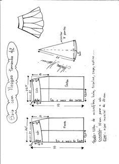 Esquema de modelagem de saia com nesgas e cós anatômico tamanho 42.