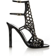 Tamara Mellon Submission studded patent-leather sandals ($398) ❤ liked on Polyvore featuring shoes, sandals, heels, black, high heel sandals, ankle strap sandals, double buckle sandals, heeled sandals and high heel shoes
