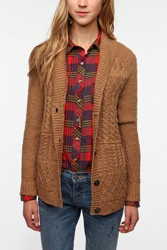 Coincidence & Chance Mixed Stitch Classic Cardigan - cardigans like we both would wear... chunky and oversized or not i guess