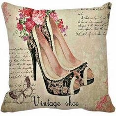 Capa de Almofada - Estampa Vintage Shoe - Quero Almofadas