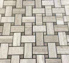 """Marble Mosaic - Wooden White Basket Weave Mosaic (12"""" x 12"""" Mesh Mount Sheet) $9.49 square foot"""
