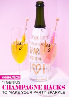 GENIUS CHAMPAGNE IDEAS: These champagne hacks will make all of your celebrations even more fun! We all know the bubbly treat is tasty enough to drink on its own but it's even more festive and fun when combined with these 11 sweet treats! Here you'll learn how to make a delish drinks with cotton candy, how to make a champagne sorbet float, and which frozen fruit you can add to keep your bubbly cool. Click through for the best champagne ideas and easy recipes you can use this New Year's Eve…