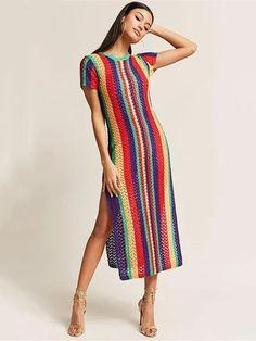 Colorful Stripes Split-side Cover-up Swimwear Colorful Stripes Split-side Cover-up Swimwear – bonboho Crochet Summer Dresses, Crochet Lace Dress, Knit Dress, Knit Crochet, Vintage Crochet Dresses, Boutique Style, Moda Retro, Fashion Pattern, Crochet Woman