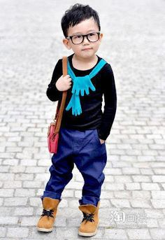 Hipster Toddler color blocks all of his clothing.
