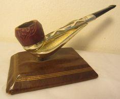 Vintage Nylon Straight Metallic Briar Estate Tobacco Smoking Pipe Threaded Bowl