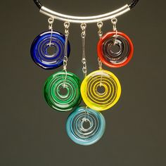 Circle of Life Necklace in Multi-Colors2, Handmade Lampwork Glass Jewelry. $57.00, via Etsy.