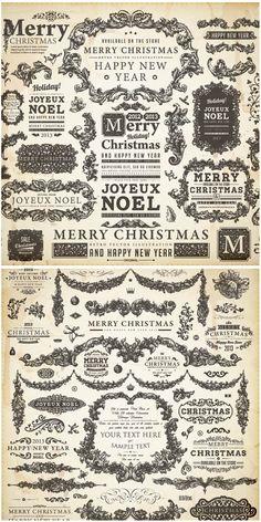 Decorative embellished Christmas frames vector