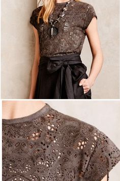 Love the cocoa color, cap sleeve, neckline and texture to this.