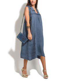 Blue Fabio Linen Dress