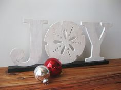 JOY Christmas beach cottage coastal word sign wood by seasawsign ** absolutely love this