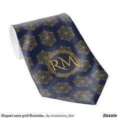 Elegant navy gold flourishes exclusive monogrammed neck tie