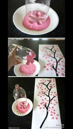 DIY Cherry Blossom Tree with soda bottle Love this