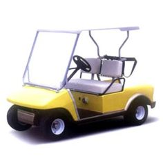 yellow golf cart with white interior