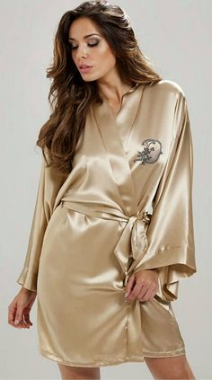 PERSONALIZED SIlky Satin Women s Kimono Robes with a Choice of Bead  Embroidery Monogram of a Letter of Your Choice 4e9b07636