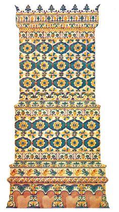 Печь, облицованная рельефными изразцами. 70-80-е годы 17 века. Реконструкция автора