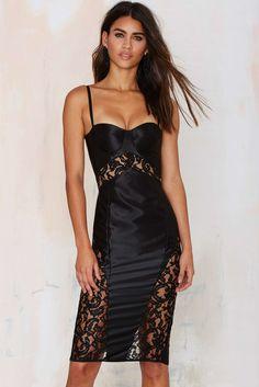 Sexy Lace Build-in Midi Dress