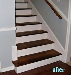Love wooden stair cases with white painted risers