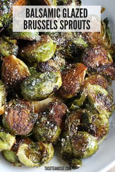 Balsamic Glazed Brussels Sprouts - Healthy Recipes - These Balsamic Glazed Brussels Sprouts are the perfect balance of savory and sweet! Spicy Brussels Sprouts Recipe, Healthy Brussel Sprout Recipes, Pan Fried Brussel Sprouts, Balsamic Brussel Sprouts, Roasted Sprouts, Vegetable Recipes, Healthy Recipes, Keto Recipes, Vegetable Side Dishes