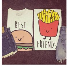 These adorable shirts are for best friends only! Order the burger tee for yourself and the fries tee for your BFF (or vice versa), and wear them every time you Best Friend Outfits, Best Friend Shirts, Friends Shirts, Harajuku, Bff Shirts, Funny Shirts, Party Friends, Girly, Cute Kawaii Drawings