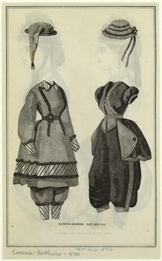 Bathing-dresses ; Hat and cap.  Aug. 1870  The Peterson magazine