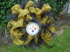 Pittsburgh Steelers deco mesh wreath by SnazzeeDoorzz
