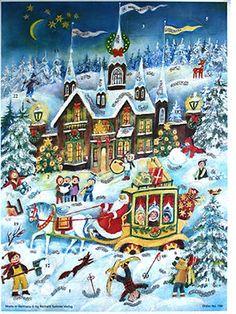 Made In Germany Glittered Santa Stagecoach Advent Calendar Christmas Keepsake