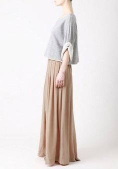 Gray cropped sweatshirt and long pleated skirt, similar to my COS top and Zara skirt