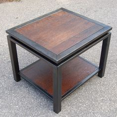 Textured Walnut and Gun Metal End Table | Carlson Design