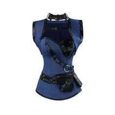 Atomic Blue Denim Steel Boned Steampunk Overbust Corset ($90) ❤ liked on Polyvore featuring intimates and shapewear