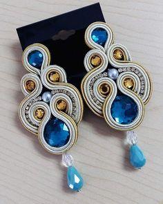 Hebras de Mahi Black Earrings, Statement Earrings, Soutache Earrings, Button Crafts, Wedding Earrings, Diy Accessories, Jewelry Supplies, Earrings Handmade, Jewelery