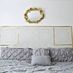 Create a gorgeous DIY Headboard just by using Removable Wallpaper. This is a great renter friendly option as well as budget friendly. Furniture Outlet, Discount Furniture, Kids Furniture, Furniture Makeover, Painting Furniture, Old Bookshelves, Modern Bookshelf, Wallpaper Headboard, Bookshelf Makeover