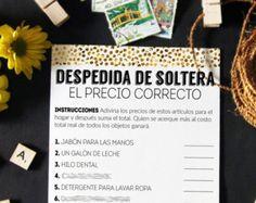 Despedida de soltera juegos, El Precio Correcto, ducha nupcial juegos, juegos despedida de soltera, El Precio correcto imprimible, español