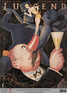 """'Carnival,'""""Jugend"""" magazine cover art by German artist and illustrator Josef Geis via the blurst of times Art Deco Posters, Vintage Posters, Vintage Art, Cabaret, Satire, Cover Art, Art Deco Paintings, Jugendstil Design, Magazine Art"""