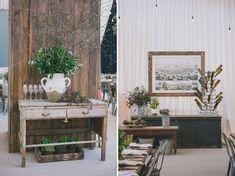 Vintage furniture. Industrial garden birthday party 50th. Lush garden meets industrial warehouse vibe. Edyta Szyszlo Photography. Venue: Pier 48 San Francisco, California.