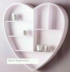 Heart Shaped Wall Hanging Shelf Display Unit Shabby Chic Kitchen Storage