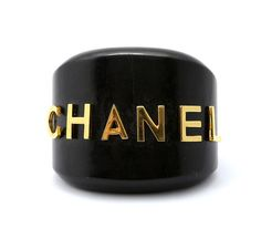 Chanel Dark Brown And Gold Wood Bracelet